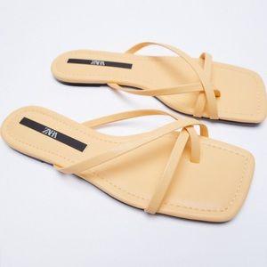 Zara New Flat Squared Toe Yellow Nude Sandals, nwt